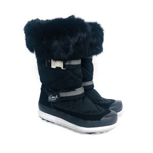 NEW COACH Mariette Rabbit Fur Trim Winter Boot